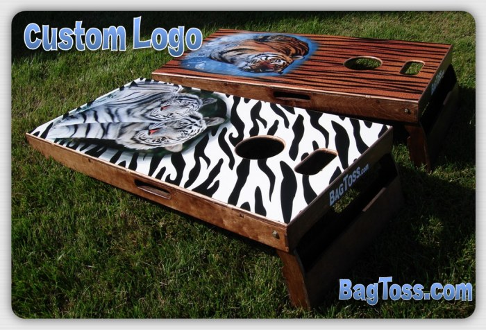Bag Toss Cornhole custom tiger boards full size image decal