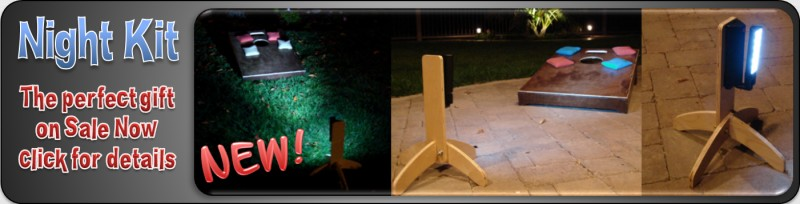 The New Night Kit on sale now. Light up your cornhole board with these two powerful LED towers.