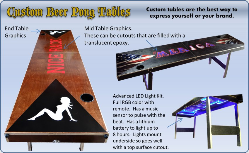 Beer pong table custom options