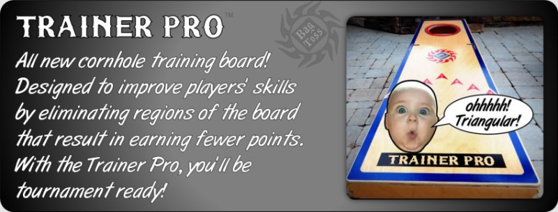 Trainer Pro is a skinny slider airmail boxes for practice and training cornhole technique.  The best tournament players practice sliding the bag to the hole on skinny boards.  Install the fence to replicate a block to work on airmails