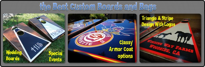 best custom cornhole boards bags team colors company logos.