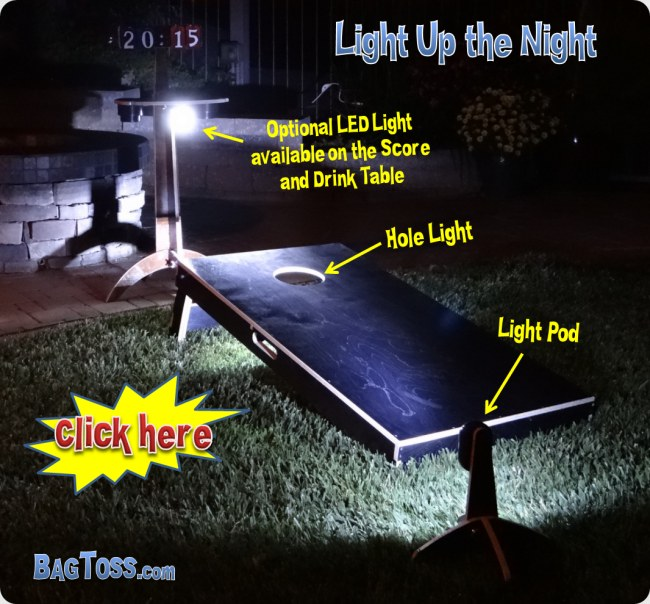 cornhole led hole lights are used when it starts to get dark out but you don't want to stop playing.  Lights are good for backyard bbq, camping or an evening at the beach. Hole lights light up the inside of the board.  Light pods illuminate the front.  The optional light on the score and drink table light up from up top.