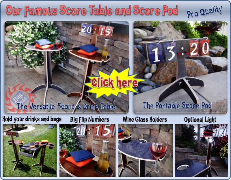 Famous Score and Drink Table tower for Cornhole horseshoes washers or any other tossing games.  The flip style score cards have large easy to read numbers.  There are pegs to track games.  There are two large drink holders and also wine glass holders. If you don't like holding your bags while you throw, the drink table is perfect.
